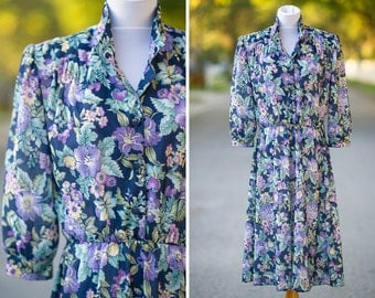 navy blue floral dress XL XXL 80s boho style plus size secretary purple california looks button down high neck elastic waist flowers
