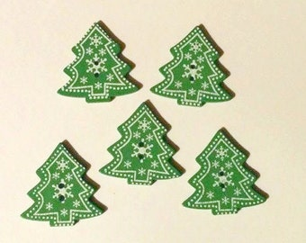 5 Green and White Christmas Tree Button-Christmas Button- Sewing-Quilting - #C-00046