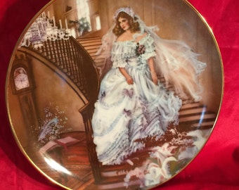 """Vintage Collector Plate: """"Caroline"""" first in the portraits of American Brides Collection by Rob Sauber; This is plate number 3970c from 1986"""