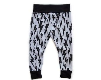 Black and Grey Halloween Lightning Bolts - Leggings Pants Shorties Harems - baby, toddler