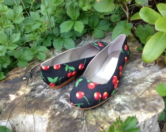 Cherry print ballet pumps