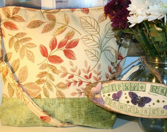 Embroidered leaf and green chenille crossbody bag.