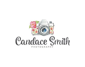 Camera logo floral logo custom logo design premade logo watermark photography logo business logo watercolor camera logo graphic design