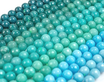 JADE Faceted Round 10mm Teals -Full Strand 15.5 inch Strand,