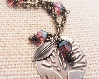 "Handmade, Hand Embossed, ""Antique Brass Tree Necklace"" Czech Glass Beads"