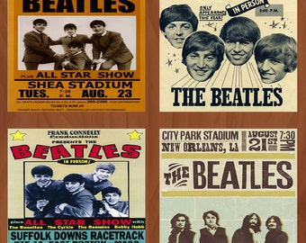 Homemade Ceramic Coasters - The Beatles Concert Poster - Set of 4