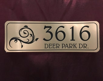 """Home Address Sign 2"""" x 6"""" Engraved Personalized w/ Adhesive Backing - For Indoor and Outdoor Use"""