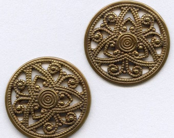 Oxidized brass filigree from Germany, 16mm 4 pcs. B9-2114(e)