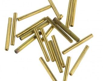 Vintage solid brass bugles. 13mm. Pkg of 50. b18-0200(e)