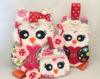 On Sale 3 Sizes Owl Zippered Pouch In the Hoop Design dst, exp, hus, jef, pes, sew, vip, vp3, Formats Digital INSTANT DOWNLOAD