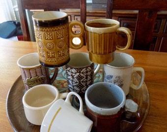 Vintage Mugs, Set of Mis Matched Mugs, 1970s Mugs, Mis Matched Cups, Mis Matched Mug Set