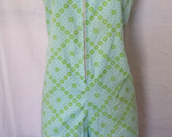 Vintage 1960's Mod Shorts Romper jumper flower floral print blue and green  misses small 4-6