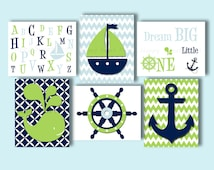Set of 6 Nautical nursery wall prints, whale crib bedding, green navy blue baby art, kids wall decor, whale anchor sailboat quotes ,alphabet