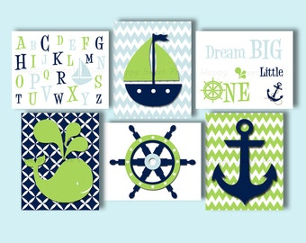 Set of 6 Nautical nursery wall prints,whale crib bedding,green navy blue baby kids canvas,whale anchor sailboat quotes,alphabet canvas, 102