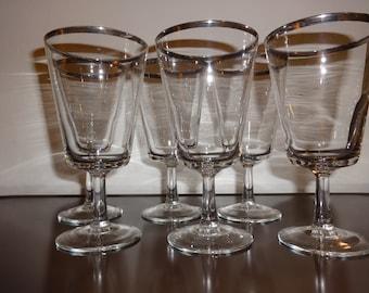 Vintage Silver Rimmed Wine Glasses set of 6