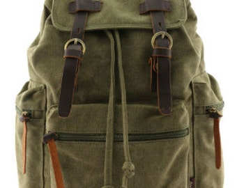 Travel Canvas Backpack Military Rucksack Black | Khaki | Olive Green