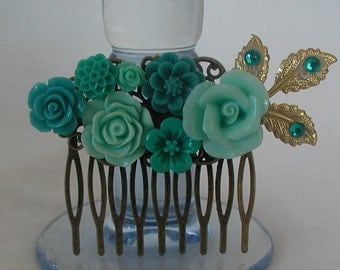 Vintage Inspired Antique Bronze Tones Mint Green Flowers Hair Comb Wedding Prom