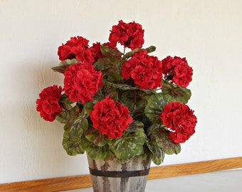 Red Flower Arrangement, Valentines Gift, Faux Potted Plant, Artificial Plant, Silk Geraniums in Container