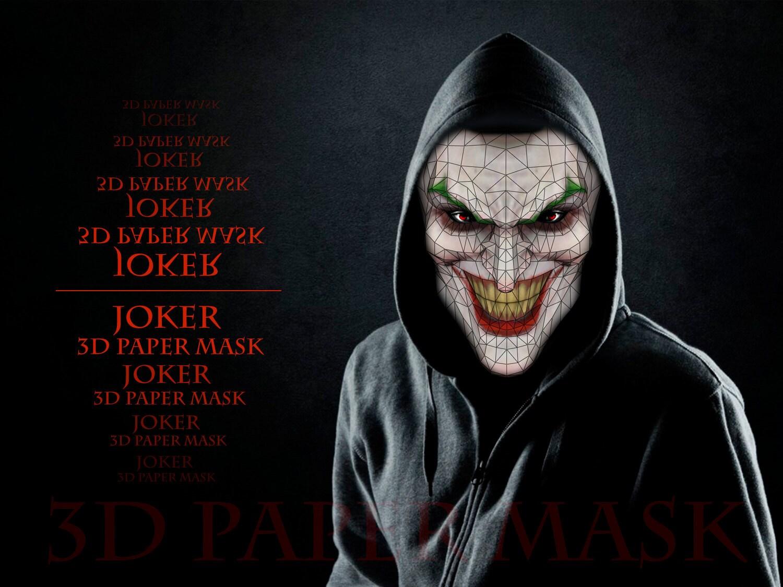 Unique Joker 3D Pattern Printable Mask, costume, Joker ...