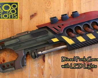 Dieselpunk Gauss Cannon Prop with LED Lights, Destiny and Fallout Prop