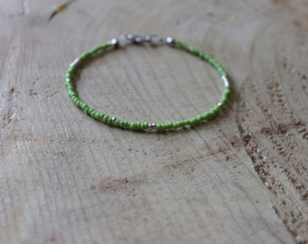 Delicate grass green and silver bracelet