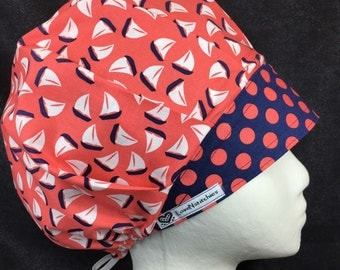 Ships Happen Surgical Cap Bouffant Scrub Hats for Women OR Tech Nurse LoveNstitchies Coral & Navy Blue Dots Endoscopy Vet Xray Cardiac Cath