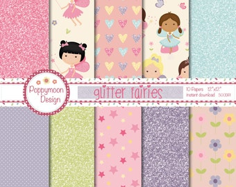 Glitter fairy,glitter, digital paper pack