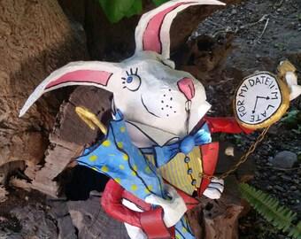 Paper Machè Decorative White Rabbit