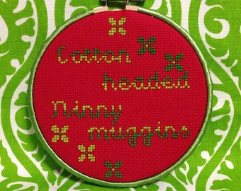 Elf Cotton headed Ninny muggins cross stitch