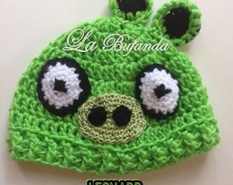 Leonard-Angry Birds Crochet Hat - Inspired Green  Beanie with Earflaps - Kids and Adults Hats
