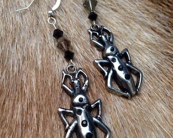 Bug & Swarovski Crystal Earrings