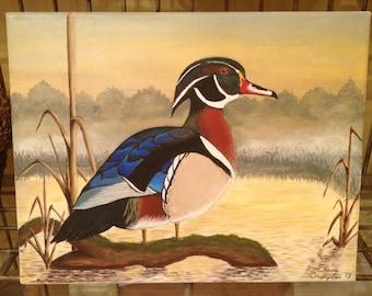 Wood Duck Drake Acrylic Original Painting