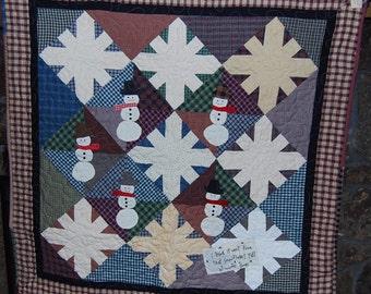 10% off Christmas Sale Snowmen & Snowflake Christmas quilt