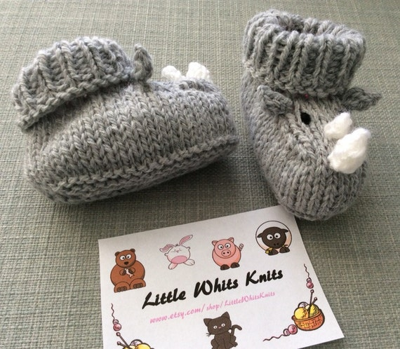 Rhino baby booties knitting pattern animal baby boots shoes socks boy baby girl baby slippers winter gift
