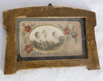 Vintage Silk Embroidered French Postcard in Frame