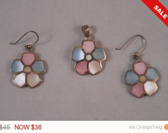 Mother of Pearl Pendant and Earring set #70