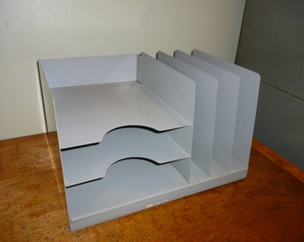 Vintage Gray Metal Dual Sorter Storage Paper/File Unit