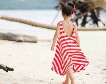 Blue and white striped girls dress  delicate and special