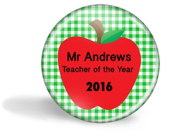 Teacher Magnet Personalised - Teacher of the Year 5.7cm (2.25 inches)