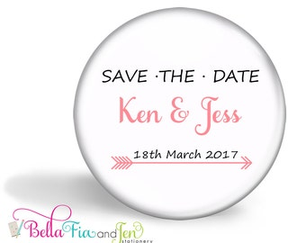 Save the Date Favour Magnet Set of 20  - Pink Arrow 5.7cm (2.25 inches)