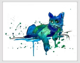 Cat Art Print - Watercolor Painting - Cat Print - Wall Decor, Wall Art 099