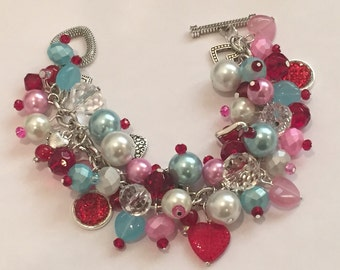 Handmade Valentine Charm Bracelet: Chunky Cluster Bracelet with Red, Pink and Light Blue Beads and Heart Charms