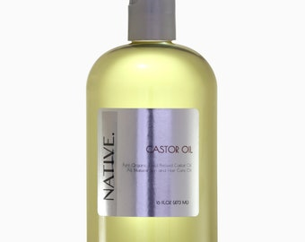 Castor Oil Pure High Quality Organic Cold Pressed Oil All Natural by Native.