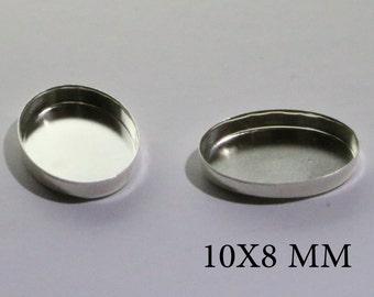 Sterling Silver Oval Bezel Cups 10x8