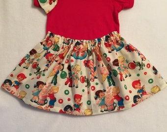 Baby Girl Retro Michael Miller, Little girl Skirt, Childs Skirt, NicolasSewing, Birthday, Shower Gift, Cute Skirt, Little girls bow