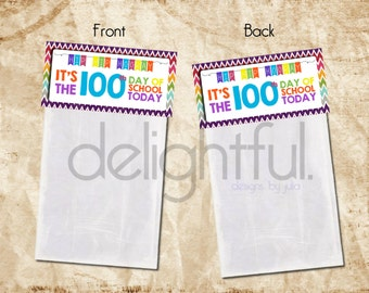 Instant Download - Colorful 100th Day of School Treat Bag Topper for kids/school/classroom/teacher - Printable