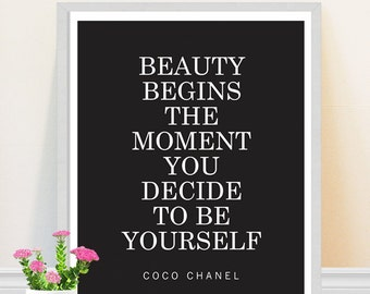 Coco Chanel Quote - Inspirational Art - Be Yourself - Motivational Art Print - Black and White - Feminism Quote