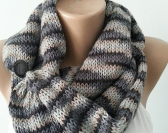 Scarf , Knitted Infinity Scarf , Neck Warmer , Circle Scarf , Gift for her , Gift for his