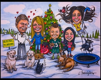 Custom Christmas cards, Xmas cards,  Christmas card,  caricature portrait, portrait caricature, cartoon portrait, Christmas cards, Xmas art