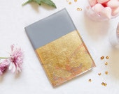 Mini Leather journal, gold leaf leather journal, mini leather notebook, Light blue sketchbook,